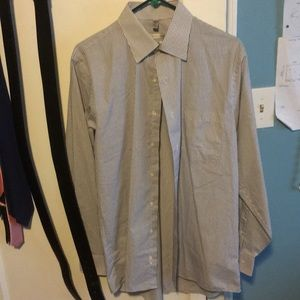 Geoffrey Beane striped gray and white shirt